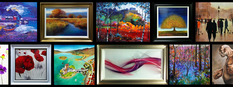 Various types and styles of artwork and mirrors available for quick delivery